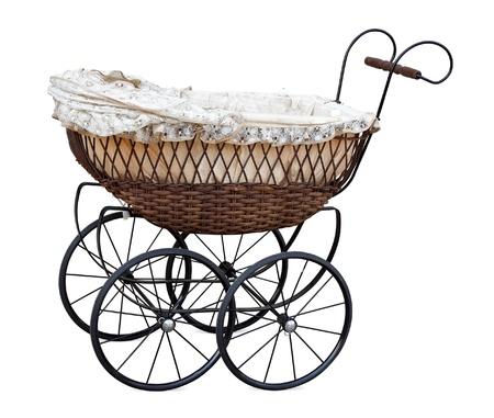 Retro Kinderwagen, isoliert auf weiss.  Standard-Bild - 10026224