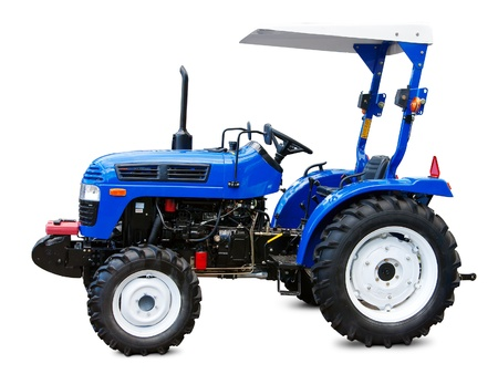 hoe: Small farmer tractor isolated on white.  Stock Photo