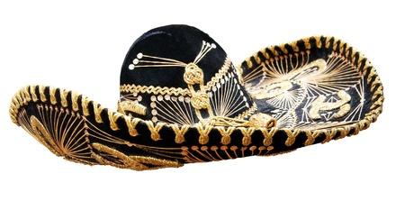 traje mexicano: Vintage sombrero mexicano aislado en blanco.