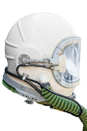 astronauta: Casco de astronauta y piloto aislada sobre fondo blanco.  Foto de archivo