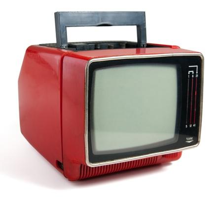 Vintage red portable TV set.