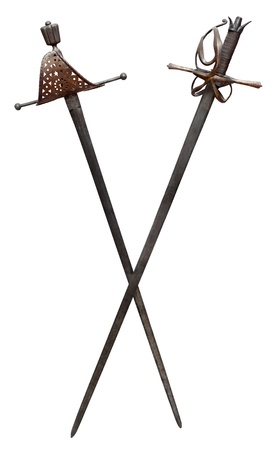 rapier: Two ancient swords isolated on white. Clipping path included