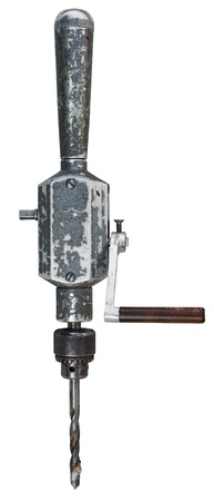 Old hand drill isolated on white.  Stock Photo - 10026064
