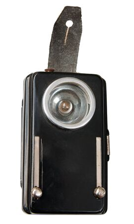 torchlight: Old pocket flashlight isolated Stock Photo