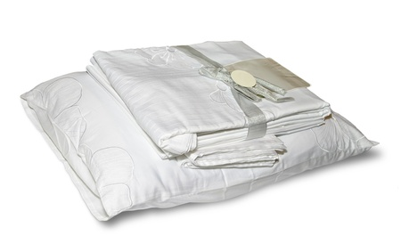 Bedclothes isolated with clipping path photo