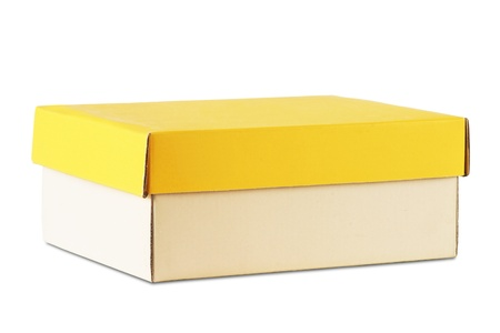 office shoes: cardboard box with yellow cover