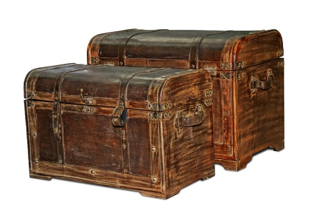 antique furniture: Two retro-styled trunks like pirates isolated on white