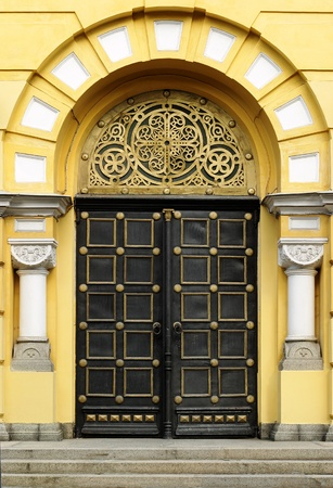 wood carving door: Orthodox Cathedral Door Stock Photo