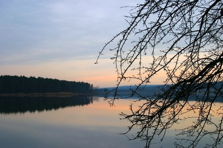 Early spring landscape with lake photo