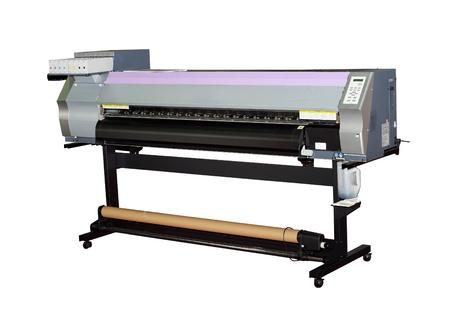 Impresora de inyección gran formato para imprimir de vallas al aire libre aislado en blanco