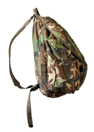 sturdy: Military backpack isolated Stock Photo