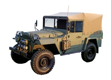 Retro military 4x4 car WW2 period isolated with clipping path Stock Photo - 10396230