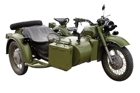 benzine: old (60-70th) military motor bike isolated