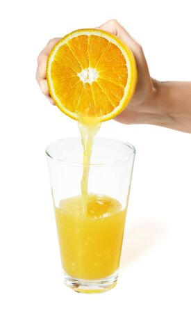 Juice stream from orange in female hand photo