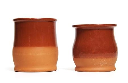 clay pot: Two ceramic pots