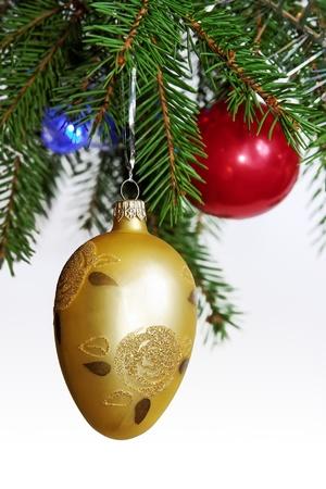 christmas bulbs: Retro ornaments on Christmas tree