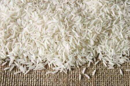 basmati: rice on sacking