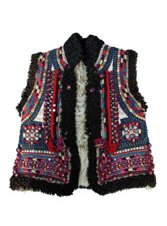 bead embroidery: Ethnic slavic (ukrainian) winter dress isolated on white