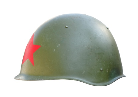 Soviet-China-Vietnam-North Korea military helmet isolated on white with clipping path