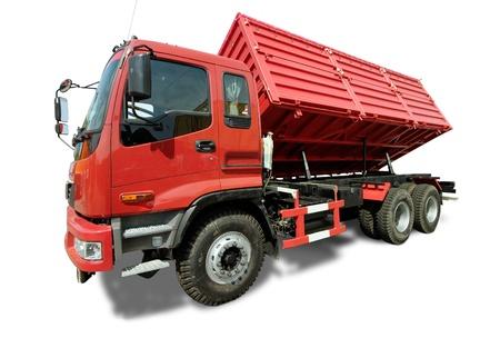 tipper: Big red truck tipper Stock Photo