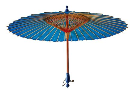 Vintage traditional japanese parasol isolated on white photo