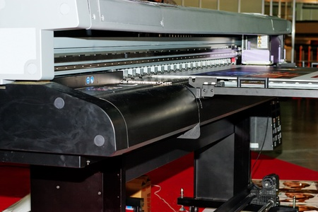 uv: Industrial large format UV inkjet printer for printing on big sheets of plastic Stock Photo