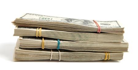 rubberband: Dollars bundles isolated on white Stock Photo