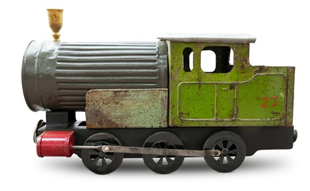 juguetes antiguos: Juguete viejo - locomotora aislada Foto de archivo