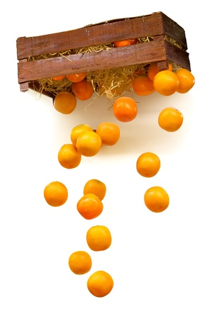 Oranges dropping from crate photo