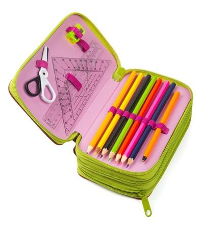 Bleistift-Fall isoliert auf weiß