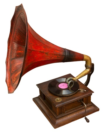phonograph: Vintage gramophone with red horn  Stock Photo