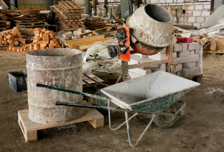 places of work: Concrete mixer and other tools for renovation