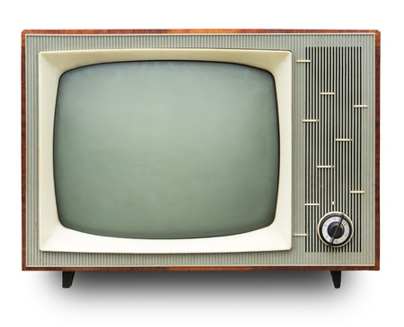 Vintage TV set isolated Stock Photo