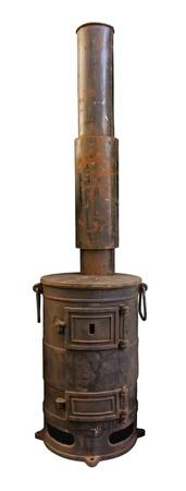 poele bois: Vieux po�le avec chemin�e