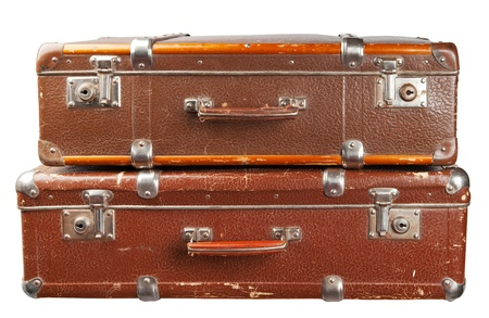 leather briefcase: Two vintage suitcase isolated  on white