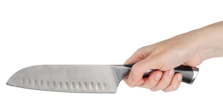 Knife in woman hand  photo