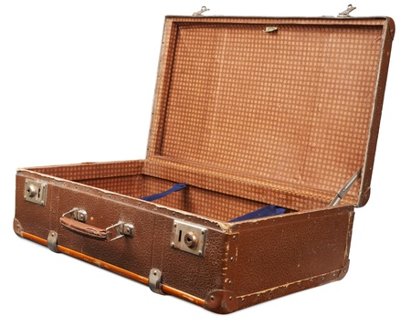 Open empty vintage suitcase photo
