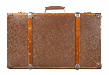 antique suitcase: Vintage suitcase isolated Stock Photo