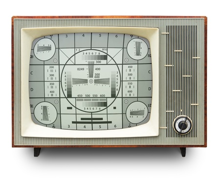TV transmission test card on vintage b w tv set  photo