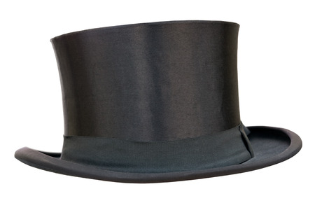 headwear: Retro top hat on white  Clipping path included