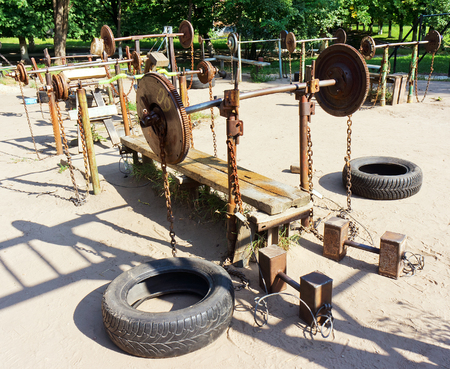 machine made: Body-builders made from old machine parts