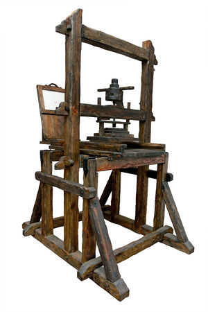 Old wooden printing press Stock Photo