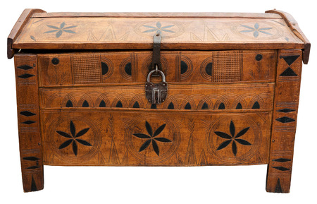 Old chest with lock isolated on white photo