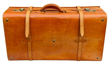 Old orange suitcase isolated on white photo