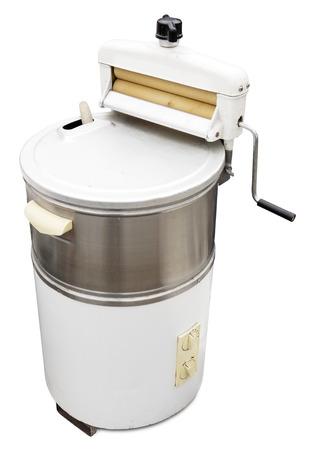 Old washing machine isolated on white