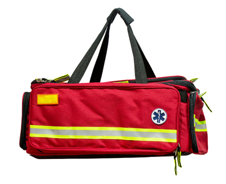emergency kit: Medical first aid bag Stock Photo