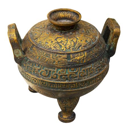 antique vase: Old bronze vessel isolated on white. Stock Photo