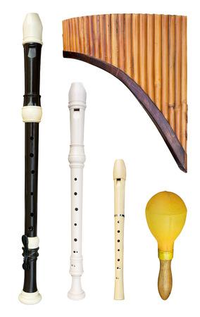 Set of flutes isolated on white
