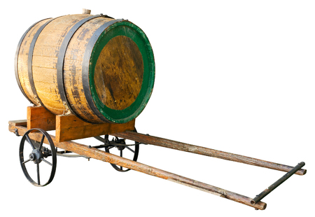 barrels: Wooden barrel on cart isolated. Clipping path included.