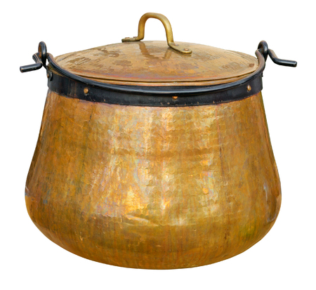 soup kettle: A big copper cauldron isolated on white. Clipping path included. Stock Photo
